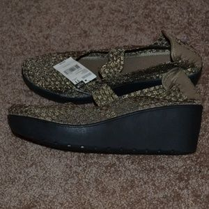 Athletech Gold Woven Wedge Shoes New with Tags 11M
